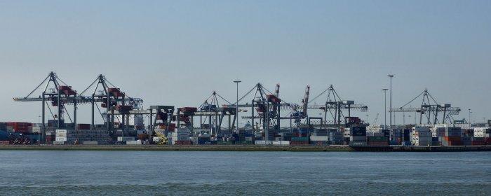 Containerbruecken im Rotterdamer Hafen