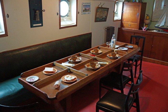 Gedeckter Tisch im Feuerschiff West-Hinder